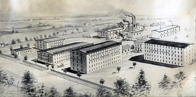 "An artist's panorama of the Peerless distillery. Elijah W. Worsham and Capt. J. B. Johnston began operations in 1881 on McKinley Street between Washington and Second streets. Initially it had a capacity of 20 barrels daily, although production was later reduced to eight barrels a day as Worsham began concentrating on the quality of his ""Peerless"" whiskey. That ""Peerless"" brand was so valuable it was specifically mentioned in the deed that transferred ownership of the distillery to Henry Kraver in 1889, by which time production had grown to 50 barrels daily. Kraver changed the name of the business to Peerless in 1910. He made many improvements in the equipment and buildings and greatly increased the distillery's output. By 1917, the last year of production, he produced 23,000 barrels."