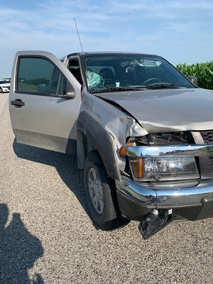 Carroll County police say Tyler Levin, of Burlington, was looking at a cellphone while in this Chevy Colorado just before he hit and killed Charles Maxwell, a rural Delphi man who was riding his bicycle on County Road 400 South on Saturday, July 4, 2020.