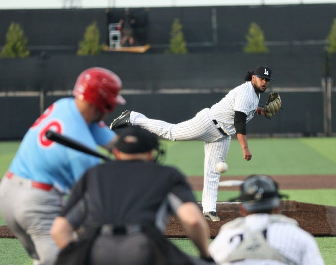 Milwaukee Milkmen right-hander Angel Ventura delivers a pitch during the season opener against the Chicago Dogs on July 3, 2020.