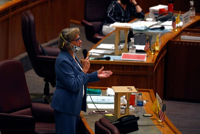 Democratic State Sen. Mary Kay Papen, of Doña Ana County, speaks during a meeting of the state Senate Saturday, June 20, 2020, in Santa Fe, N.M. In honor of Papen's term ending as chair of the Senate Presidents' Forum, a donation of $1,000 was gifted to Casa de Peregrinos.