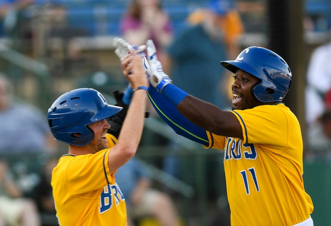 Canaries outfielder Jabari Henry celebrates a home run during the game against the Saints on Friday, July 3, 2020 in Sioux Falls, S.D.