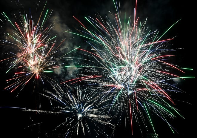 Fireworks stream across the sky after the Canaries season opener against the St. Paul Saints on Friday, July 3, 2020 in Sioux Falls, S.D.