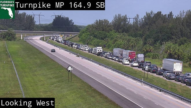 Traffic was backed up a few miles on Florida's Turnpike Saturday, July 4, following a crash in St. Lucie County.