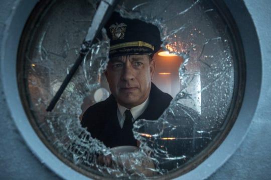 "Tom Hanks captains a Navy destroyer against pursuing U-boats in the World War II thriller ""Greyhound."""