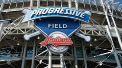 A general overall view of Progressive Field before a MLB game between the Philadelphia Phillies and the Cleveland Indians.