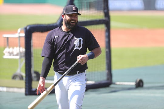 Detroit Tigers catcher Austin Romine walks off the field after batting practice at Comerica Park on July 5, 2020.