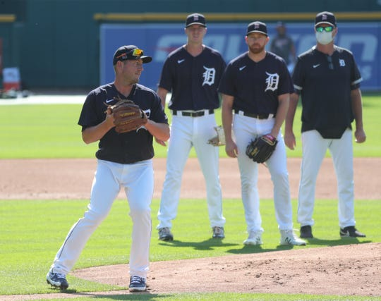 Detroit Tigers pitcher Jordan Zimmermann goes through drills during practice at Comerica Park on Sunday, July 5, 2020.
