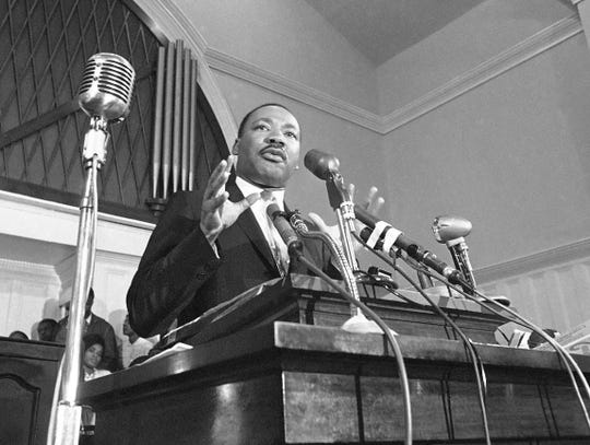 In this 1960, file photo, Martin Luther King Jr. speaks in Atlanta.
