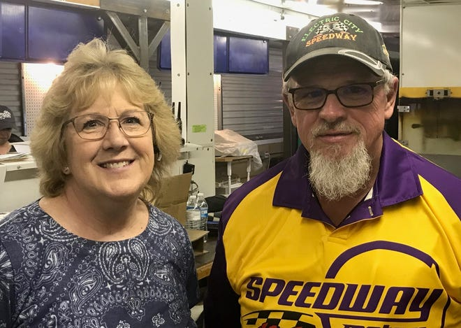 Manager Debby Wiggers (left) and promoter Steve Fowler are part of the new management at the Electric City Speedway after former owners Dan and Barbara Mann retired after 30 years of running the Speedway.