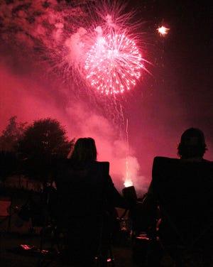 Folks watch the fireworks in Gallatin, Tenn. on Friday, July 3, 2020.
