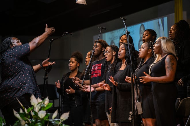 A choir performs at the Shiloh Temple International Ministries in Minneapolis on June 12, 2020. The service was held to honor the life of George Floyd and other black men and women who were victims of police brutality. (Brandon Bell/Getty Images/TNS)