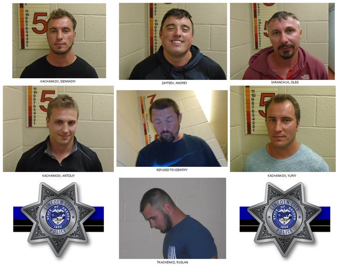 Seven Washington men were arrested on multiple charges on the Oregon Coast beach in Lincoln City.