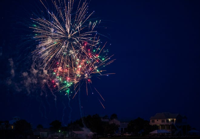 Fireworks light up the shore at Shell Point as residents celebrate the Fourth of July.