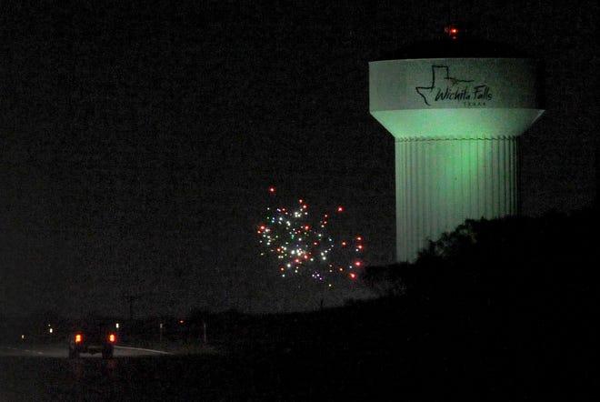 Wichita Falls fireworks near north water tower.