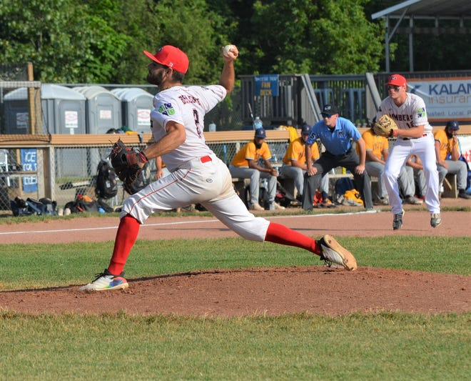 Pablo Arevalo pitches for the Battle Creek Bombers during the first week of the season, in a game against the Kalamazoo Growlers at Homer Stryker Field.