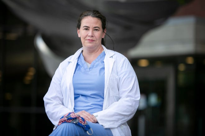 Alexandra Owensby photographed outside of the University of Cincinnati College of Medicine on Thursday, July 2. Owensby, a democratic candidate, will face Republican incumbent Rep. Thomas Massie in the November election.