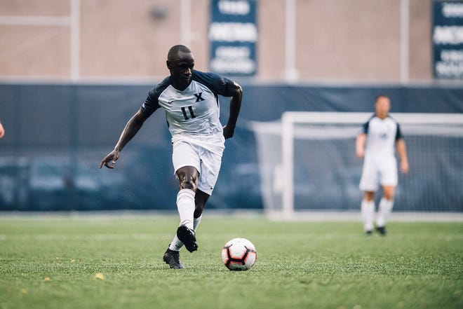 """Former Xavier University men's soccer player Derrick """"Del"""" Otim, pictured here in a match against Akron on August 30, 2019, died in a swimming accident on the weekend of July 4, 2020."""