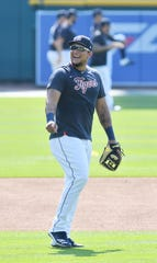 Miguel Cabrera enjoys the Tigers' workout on Monday at Comerica Park.