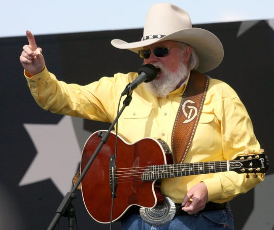 Musician Charlie Daniels preforms at Northrop Grumman shipyard during the Christening Ceremony of the U.S. Navy ship New York on March 1, 2008 in Avondale, Louisiana.