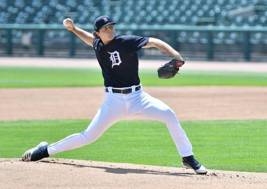 Casey Mize throws live batting practice on Monday.