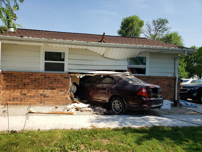 A car drove into a home in the 800 block of Longview Avenue in Allouez Monday.