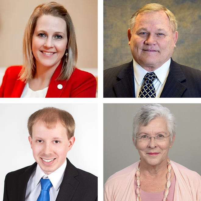 Candidates for 47th District state representative, clockwise from upper left, are Meghan Reckling, Bob Bezotte, Yvonne Black and Zachary Dyba.