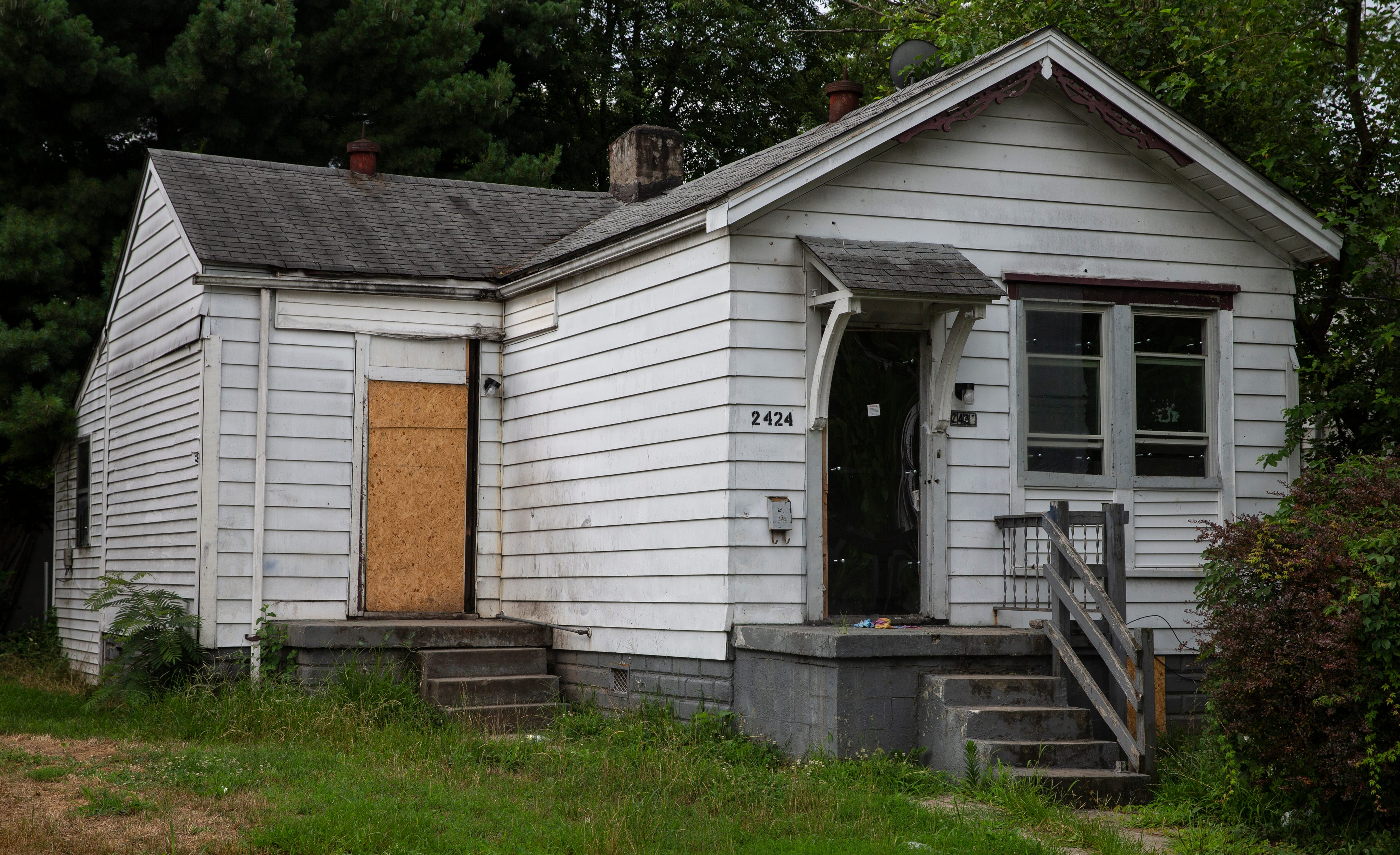 The house on Elliott Avenue in Louisville's Russell neighborhood, where Jamarcus Glover claims he was forced out by the city as part of a plan to gentrify the neighborhood. July 6, 2020