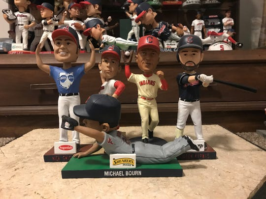 The 2014 stadium giveaway bobblehead promotions for the Cleveland Indians were of Nick Swisher, Orel Hershiser, Michael Brantley, Jason Kipnis and Michael Bourn.