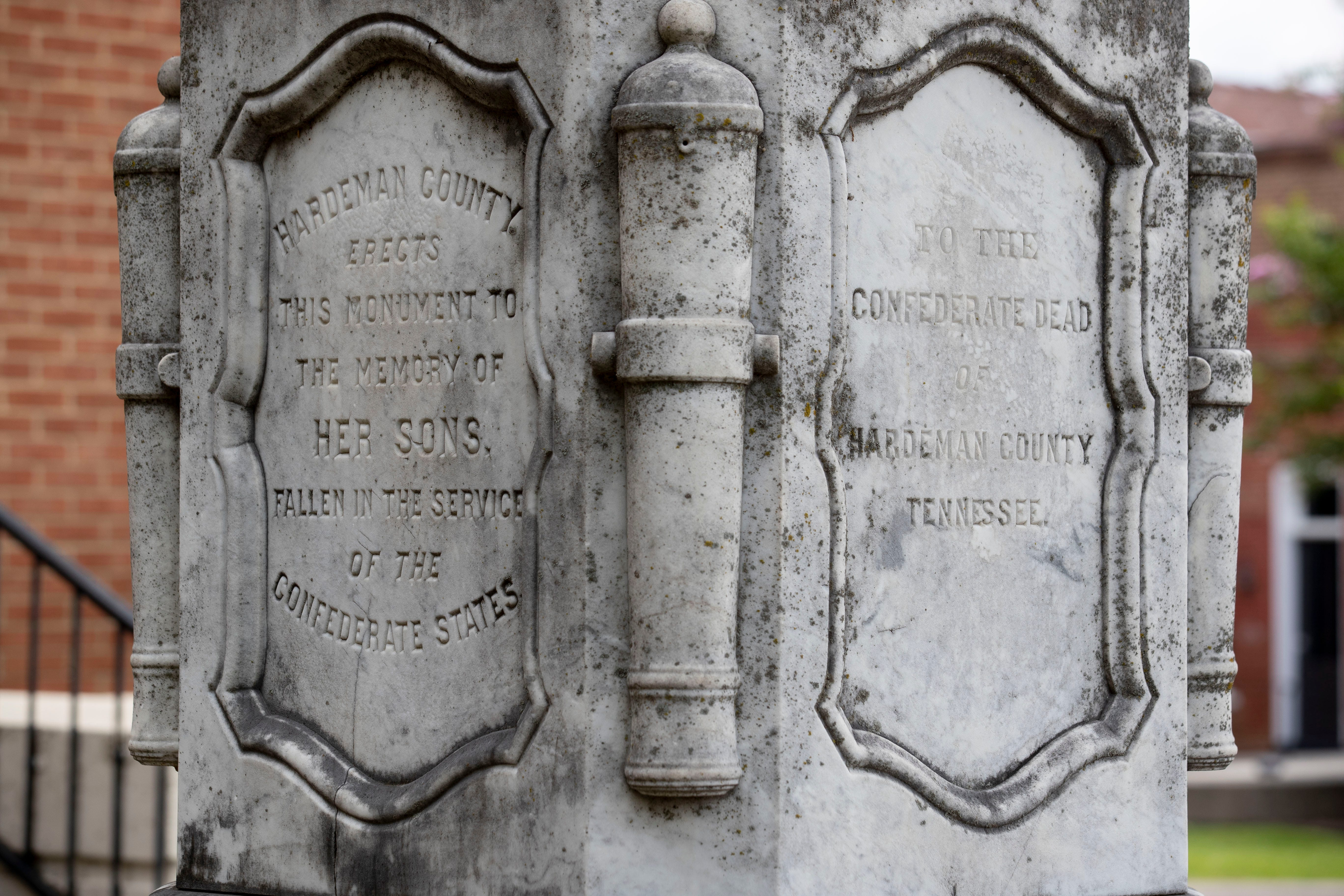 A monument to fallen Confederate soldiers, an obelisk installed in the late 1860ssits on the south lawn of the Hardeman County Courthouse and has largely gone unnoticed.