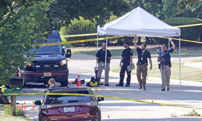 Police investigate the scene near the intersection of Pebble Valley Road and Hunting Ridge Road in Waukesha on Monday, July 6, 2020. A man died of an apparent self-inflicted gunshot wound after a standoff with police that began over a domestic incident at a home.