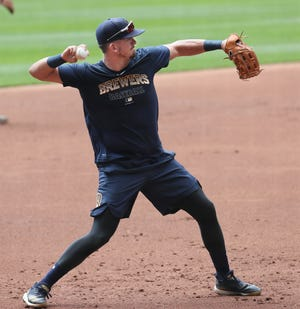 Ryon Healy, one of two players recalled  from the alternative training site in Appleton, found himself leading off as the Brewers' DH on Monday night.