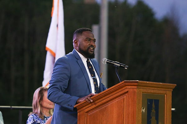 Lafayette Crump, Milwaukee's newly appointed development commissioner, gives a commencement address to the University School of Milwaukee graduating class of 2020 on June 27.