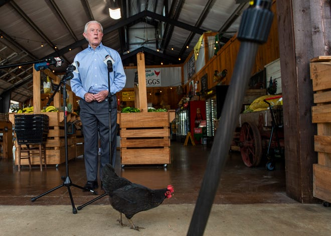 U.S. Senate candidate Jeff Sessions holds a press conference at Sweet Creek Farmers Market in Pike Road, Ala., on Monday, July 6, 2020.