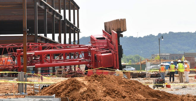 Crane Collapses in Berry Farms, No Injuries and Minor Property Damage Reported in Franklin, Tenn. Monday, July 6, 2020