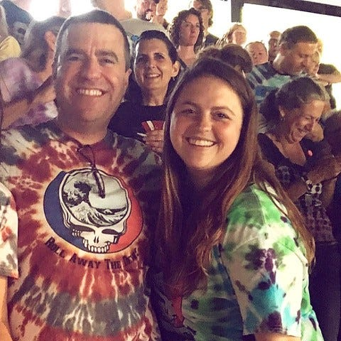 Longtime Grateful Dead fan Chris Dewey and his daughter, Nashville singer/songwriter Melanie Dewey, who helped orchestrate special shoutouts from Dead members for her dad
