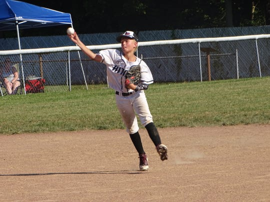 Daniel Gould throws to first base from shortstop for the Ohio Hitmen 12U against the Mid-Ohio Raptors on Sunday in the championship game of the Marlins Firecracker at the Athletics Baseball Moose Field. The Raptors won 8-5.