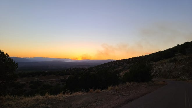Smoke from the Polles Fire burning near Payson can be seen in the distance. The fire had burned more than 500 acres by early Monday with no containment, officials with the Tonto National Forest said.