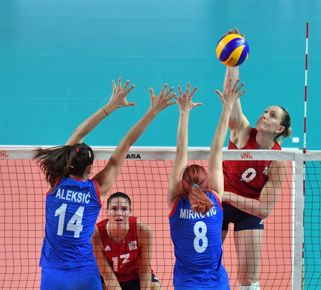 Outside hitter Madi Kingdon Rishel of Phoenix is in contention for the U.S. women's volleyball team that will play at the Tokyo Olympics in 2021.