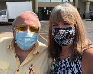 """I was checking out at the grocery store in Tempe when Jerry Tauss asked, """"Are you Karina Bland?"""" He's a longtime reader of The Republic and recognized me even in mask. We took a quick selfie in the parking lot."""