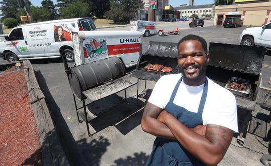 Jesse Barksdale has found a wonderful combination of businesses on State Street near the Kodak Tower.  He owns a Uhaul rental shop at his convenience store where he also offers jerk ribs and wings.