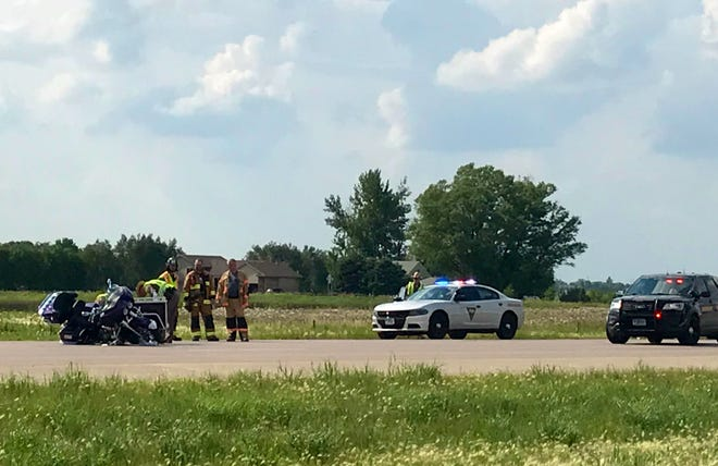 A motorcyclist crashed in the southbound lanes of I-29 just north of the Tea exit around 4:30 p.m. Sunday.