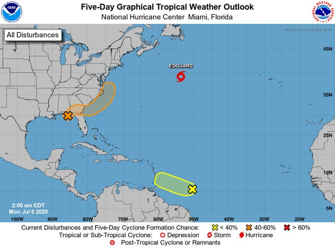 A low pressure system over the Gulf of Mexico could intensify into a tropical system after moving out of the North Florida area and over the Atlantic Ocean.