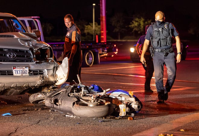 Visalia Police investigate a collision between a motorcycle and a truck at Walnut Avenue and Pinkham Street on Sunday, July 5, 2020. The motorcycle driver was transported to a local hospital with moderate injuries. The motorcycle was southbound when a northbound truck failed to yield and turned left in front of the motorcycle. The truck driver was not injured and police do not suspect alcohol was involved.