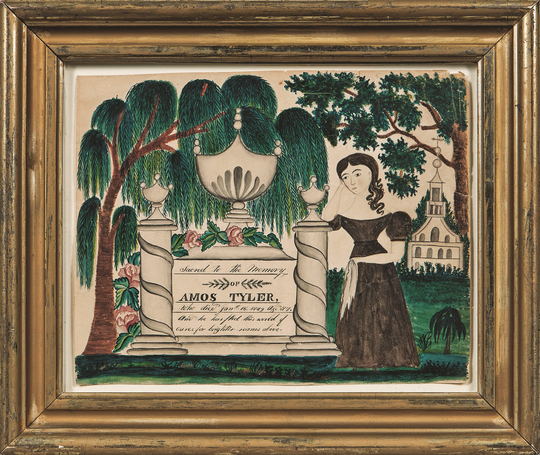 This watercolor is a mourning picture made about 1830. It is in a 7- by 9-inch frame. The picture sold for more than $22,000.