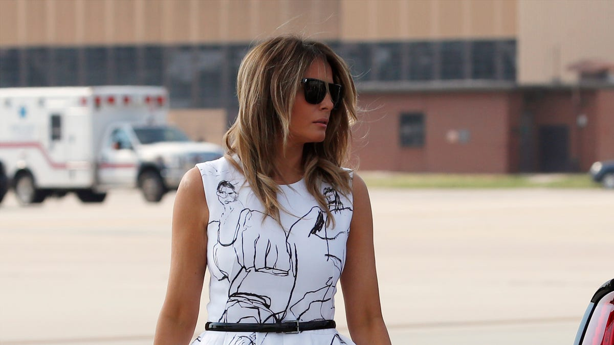 Fact Check Melania Trump S Dress Didn T Feature Victims Drawings