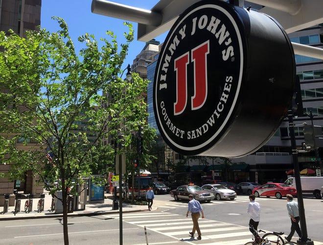 Logo of the sandwich restaurant chain Jimmy John's in Washington, D.C., on June 9, 2016,
