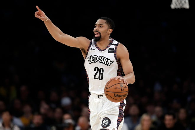Nets guard Spencer Dinwiddie has chosen against playing in the NBA's restart after another positive test for coronavirus. MARCIO JOSE SANCHEZ/AP
