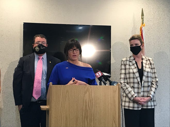 Daedra Logan speaks alongside Florida Rep. Randy Fine about sexual assault allegations against the campaign manager of Fine's primary opponent.