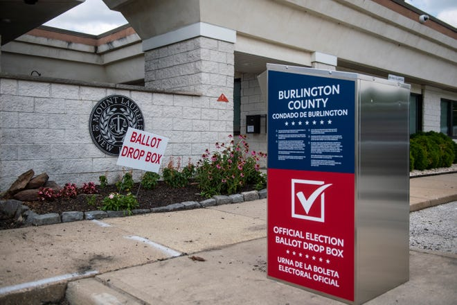 A ballot drop box at the municipal building on Election Day Tuesday, July 7, 2020 in Mount Laurel, N.J.