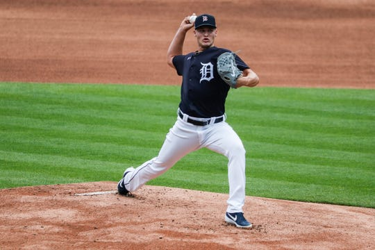 Matt Manning pitches Tuesday at Comerica Park.